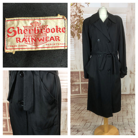 Fabulous 1940s 40s Vintage Black Belted Rain Mac Trench Coat