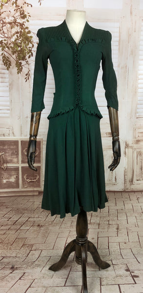 Original Early 1940s 40s Vintage Forest Green Crepe Dress