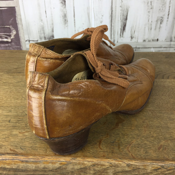Original 1920s Tan Brown Leather Heeled Shoes
