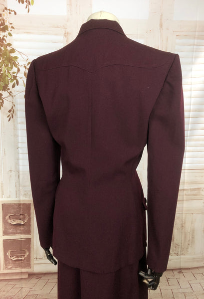 Original 1940s 40s Vintage Burgundy Gab Gabardine Skirt Suit With Western Yoke