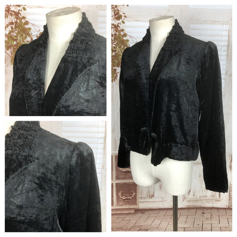 Original Vintage 1930s 30s Black Silk Velvet Jacket With Shirred Ruffle Collar And Puff Shoulders