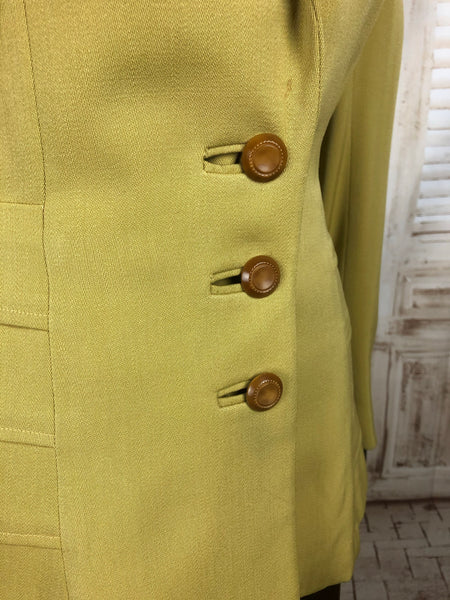 Original 1940s 40s Vintage Mustard Yellow Chartreuse Gabardine Blazer With Waterfall Tier Details