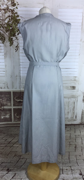 Original 1940s Vintage Volup Blue And White Stripe Cotton Summer Dress With Matching Belt