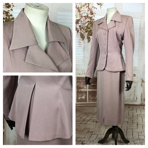 Original 1940s 40s Vintage Dusty Pink Skirt Suit With Amazing Collar