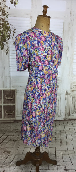 Original 1930s 30s Vintage Floral Rayon Dress With Puff Shoulder