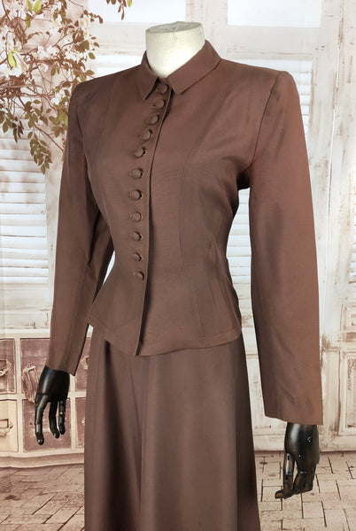 Original 1940s 40s Vintage Brown Celanese Rayon Suit by Handmacher