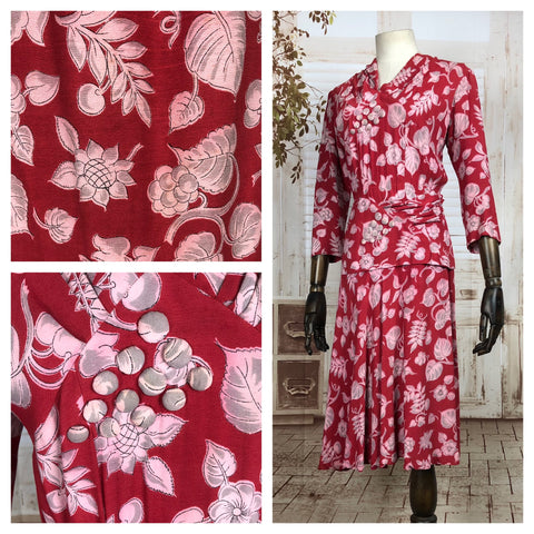 Original 1940s 40s Vintage Red Crepe Novelty Print Dress With Pleats And Decorative Grape Design Buttons