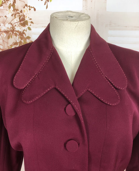 LAYAWAY PAYMENT 3 OF 3 - RESERVED FOR KELLY - Original Vintage 1940s 40s Burgundy Gab Gabardine Skirt Suit With Incredible Scalloped Pockets And Collar
