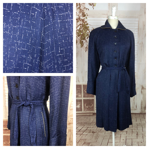 LAYAWAY PAYMENT 1 OF 2 - RESERVED FOR HOLLY - PLEASE DO NOT PURCHASE - Original 1940s 40s Volup Vintage Blue And White Atomic Fleck Belted Gabardine Coat