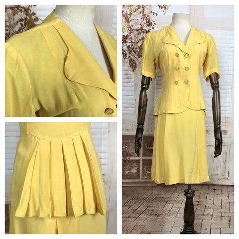 Original 1940s 40s Vintage Spring Yellow Double Breasted Summer Suit With Pleated Bustle