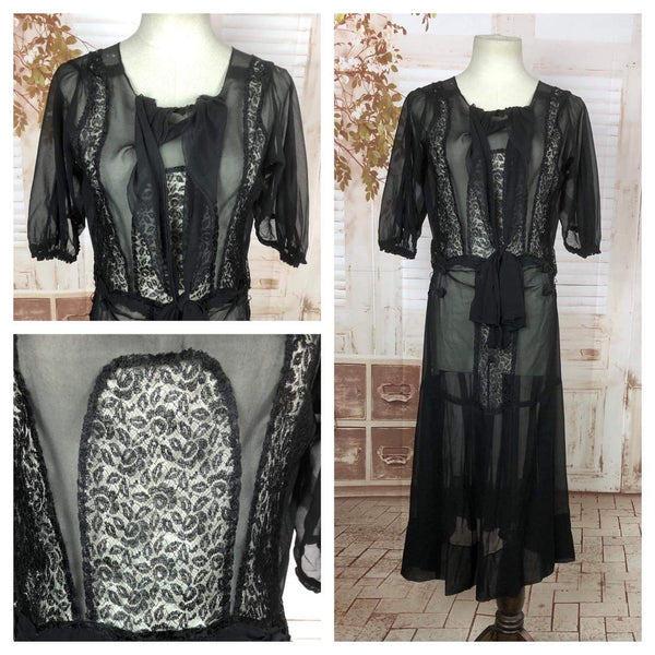 Original Vintage 1930s 30s Black Sheer Chiffon And Lace Dress