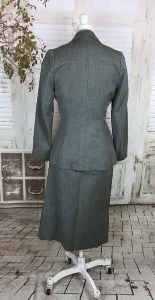Original 1940s Grey Wool Vintage Skirt Suit With Black Flower Buttons