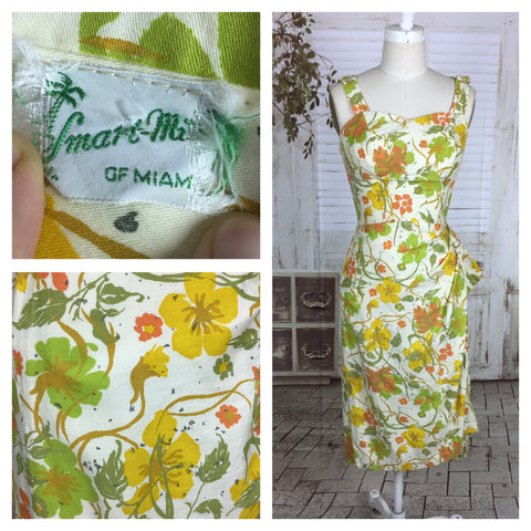 Original 1950s 50s Vintage Hawaiian Style Polished Cotton Dress With Sarong Skirt White And Gold Flowers By Smart Mills Miami