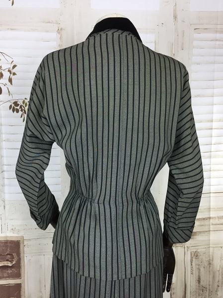 Original 1940s 40s Vintage Silver Grey Black Stripe Summer Suit With Black Velvet Collar By Kay Windsor