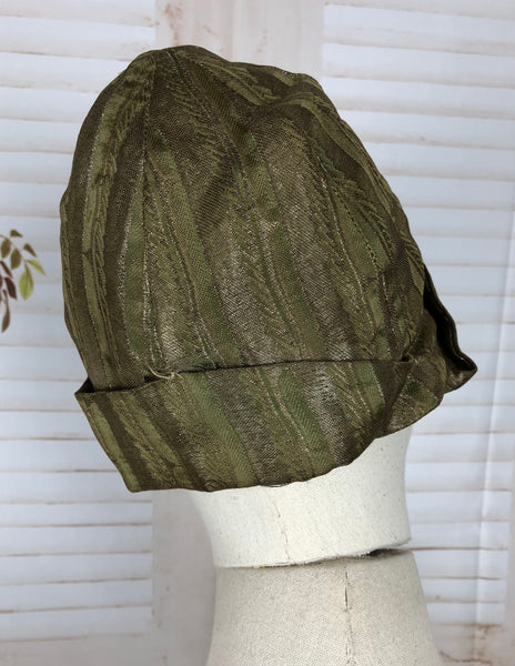 Original 1920s 20s Vintage Striped Lamé Cloche Flapper Hat With Huge Flowers