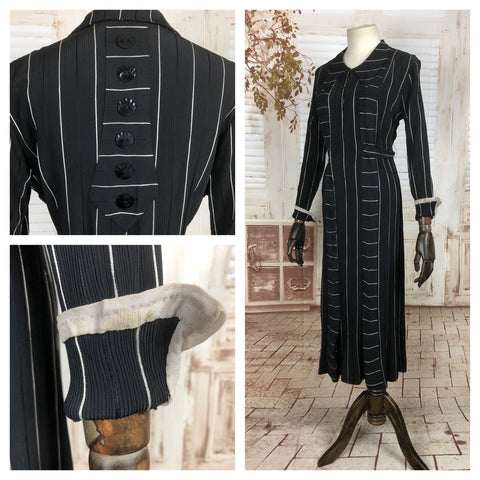 Original 1930s 30s Vintage Black And White Striped Art Deco Dress