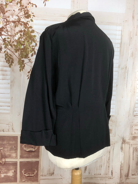 LAYAWAY PAYMENT 1 OF 2 - RESERVED FOR PATRICIA - Original Late 1940s 40s Volup Vintage Black Blazer