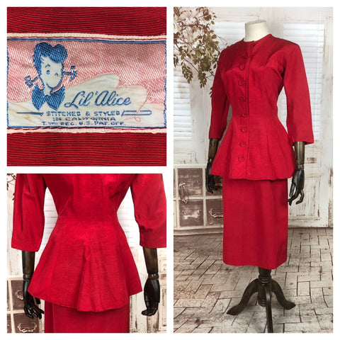 Original 1940s 40s Vintage Red Fallie Skirt Suit With Long Line Jacket By Lil Alice