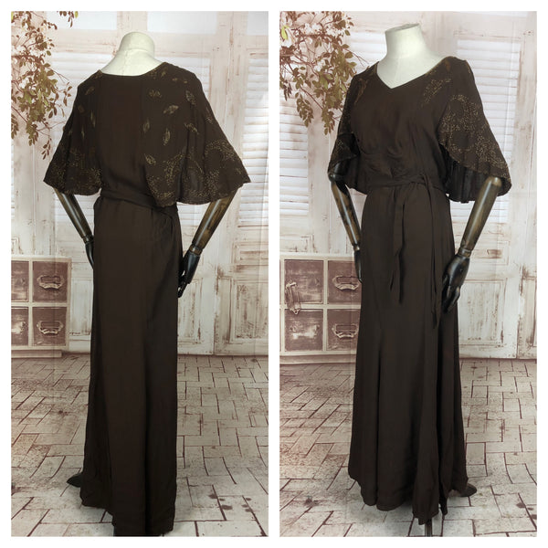 Original 1930s 30s Vintage Brown Crepe Gown With Beaded Cape Effect Shoulders