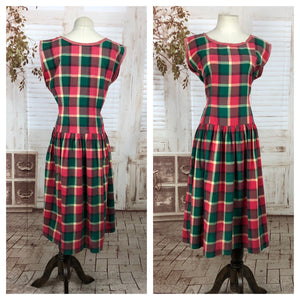 Original 1940s 40s Vintage Red and Green Plaid Day Dress