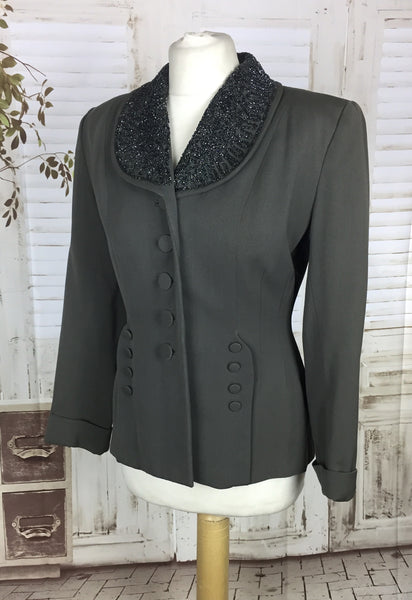 Original 1940s 40s Vintage Grey Gabardine Gab Jacket With Beaded Collar And Decorative Buttons