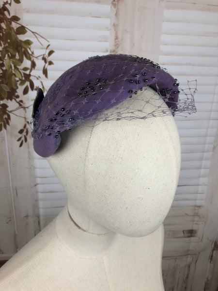 Pastel Lilac 1950s 50s Half Hat With Beading And Veil
