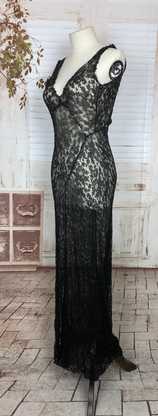 Original 1930s 30s Vintage Delicate Black Lace Full Length Evening Gown