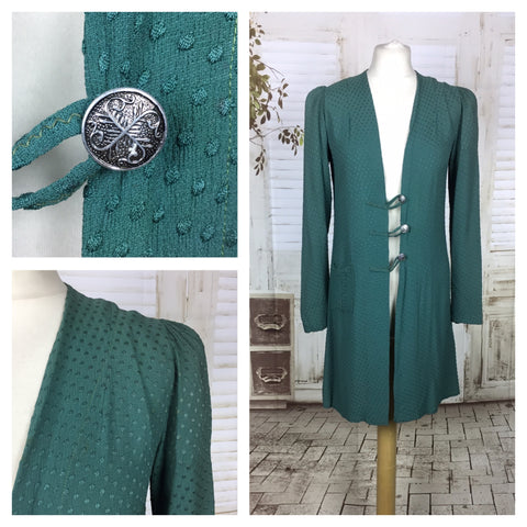 Original Vintage Teal Textured Crepe Lightweight Coat With Puff Shoulders And Frog Fastening