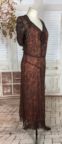 Original 1930s 30s Vintage Brown Lace Over Pink Slip Evening Dress
