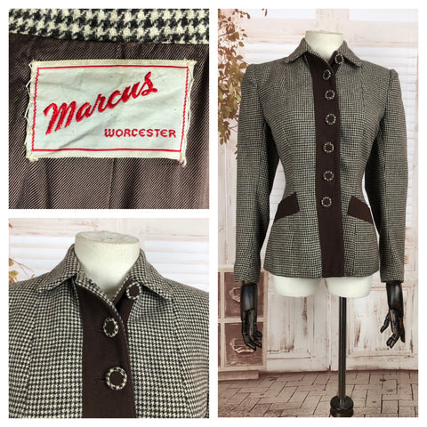 Original 1940s 40s Vintage Jacket Brown And White Houndstooth Wool By Marcus