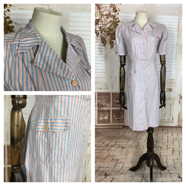 Original 1930s 30s Vintage Pale Blue And Pink Stripe Cotton Day Dress With Puff Sleeves