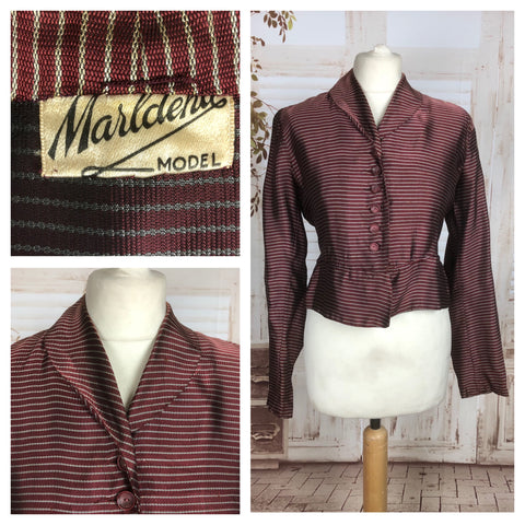 Original 1950s 50s Vintage Burgundy Copper Blazer With White Stripe