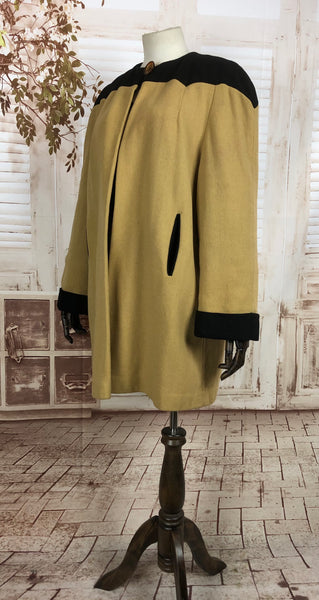 LAYAWAY PAYMENT 2 OF 2 - RESERVED FOR GILDA - Original 1940s 40s Vintage Mustard Yellow And Black Colour Block Coat