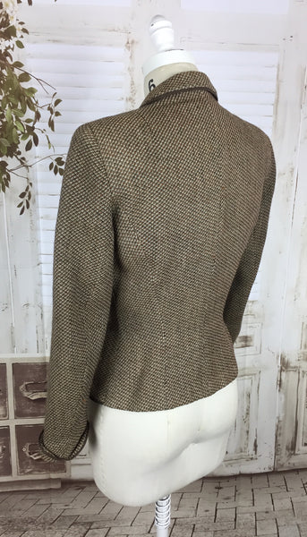 Original 1940s 40s Vintage Brown Orange And White Wool Thread Jacket By Bullocks