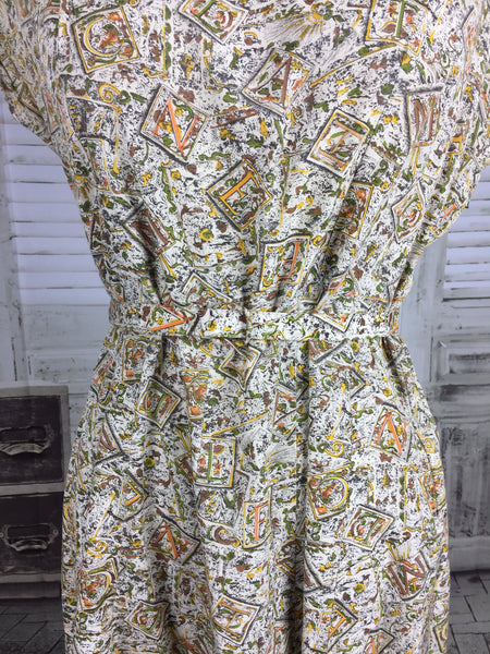 Original 1940s Vintage Letter Novelty Print Dress and Jacket With Matching Novelty Print Buttons Volup