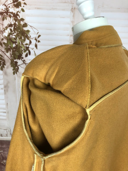 Original 1940s 40s Vintage Gold Mustard Wool Coat with Soutache Decoration And CC41 Utility Label