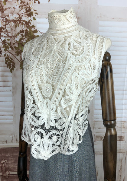Original Edwardian 1910s Antique Battenberg Tape Lace Blouse