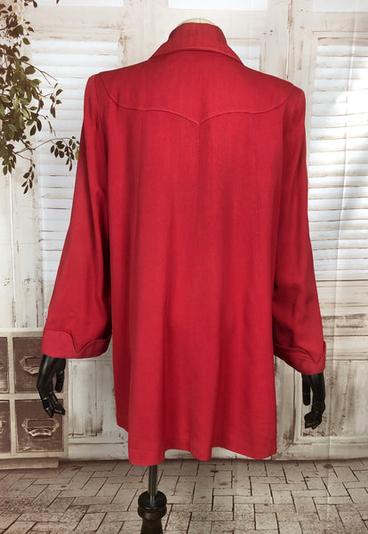Original 1940s 40s Vintage Red Gabardine Swing Coat