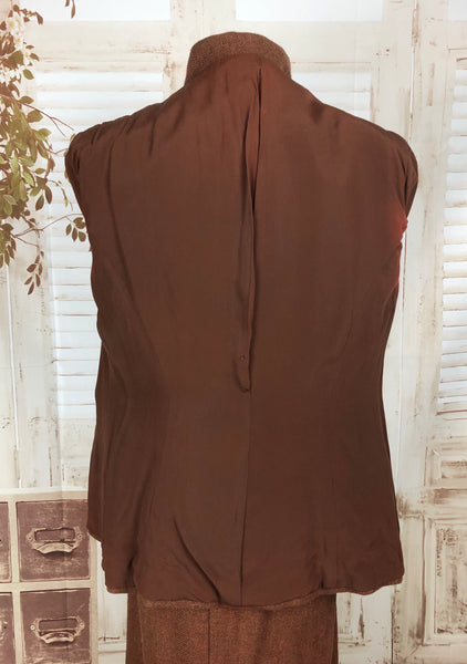Original 1940s 40s Vintage Brown Wool Skirt Suit With Double Button Front