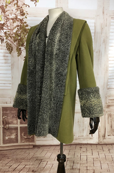 LAYAWAY PAYMENT 1 OF 2 - RESERVED FOR VICKY -Original Vintage 1940s 40s Chartreuse Green Swing Coat With Astrakhan Trim