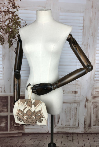 Vintage 1930s 30s Cream Beaded Bag
