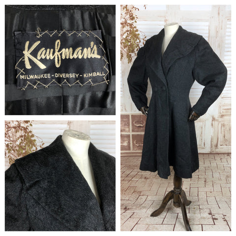 Original 1950s 50s Vintage Grey Eyelash Wool Mohair Double Breasted Princess Coat With Shawl Collar Sold By Kauffman's In The Style Of Lilli Ann