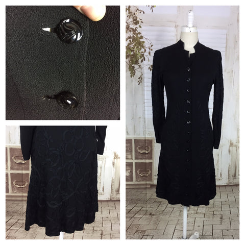 Original 1930s 30s Vintage Black Crepe Coat Jacket With Ribbon Soutache Decoration
