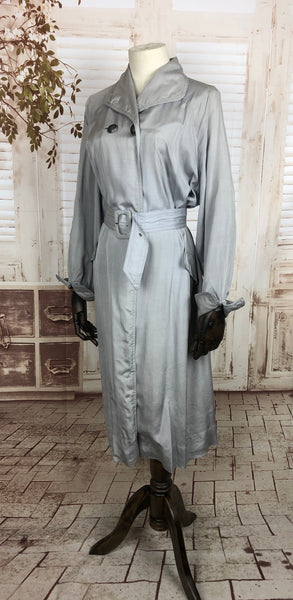 Original 1950s 50s Volup Vintage Grey Double Breasted Silk Cotton Belted Rain Coat Mac