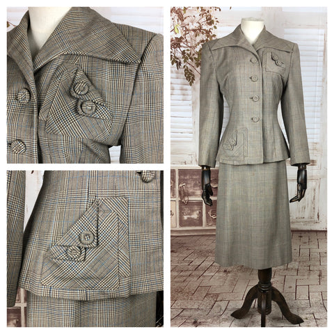LAYAWAY PAYMENT 1 of 2 - RESERVED FOR ROMY - Original 1940s 40s Vintage Prince Of Wales Check Skirt Suit