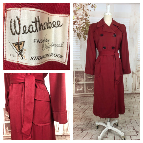 LAYAWAY PAYMENT 2 OF 2 - RESERVED FOR FELICITY - PLEASE DO NOT PURCHASE - Original 1940s 40s Vintage Red Gab Gabardine Belted Double Breasted Rain Coat