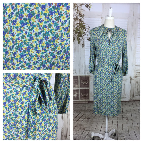 Original 1940s Vintage Volup Floral Blue Yellow Green Print Rayon Crepe Dress With Tie Belt