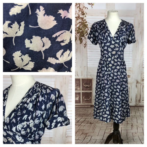 Original 1930s 30s Vintage Silk Day Dress With White Hibiscus Flowers On A Navy Blue Background