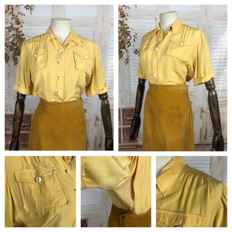 Original Vintage 1940s 40s Mustard Yellow Blouse With Vented Sides