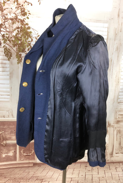 Original 1930s 30s Vintage Navy Blue Wool Jacket With Brass Buttons